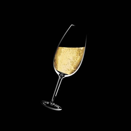 A glass of white wine on black 向量圖像