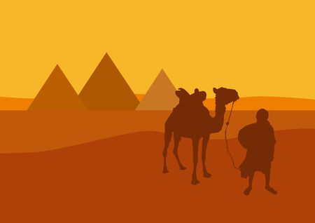 Camel and camel-driver in front of the pyramids in Egypt at sunset. Vector illustration