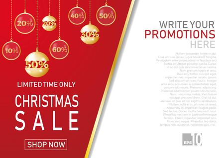 Christmas holiday sale on flat background. Limited time only. Template for a banner, shopping, discount. Vector illustration for your design Ilustração
