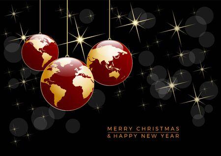 Albero di Natale, cartolina vettoriale in nero. Vettoriali