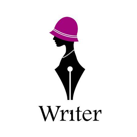 Fountain pen, head of a woman wit hat