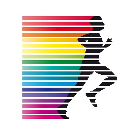 Vector sign rainbow fast man runs in the wind