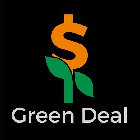 Green deal. Conceptual  with flowers and dollar sign