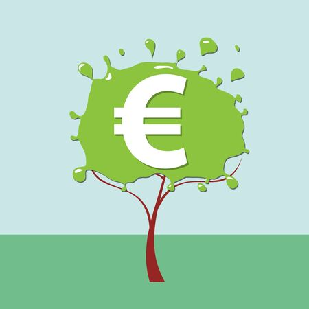 Green deal. Conceptual illustration with tree and euro sign