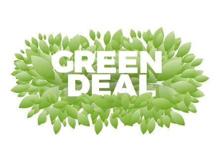 the word Green Deal. Conceptual illustration with leaves and text