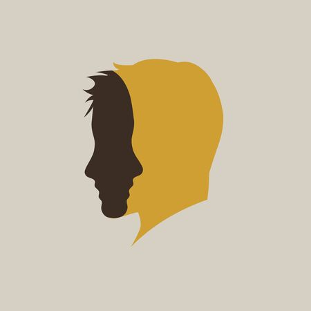 Two faces in one. Vector sign abstract dual personality,  duplicity concept Vectores
