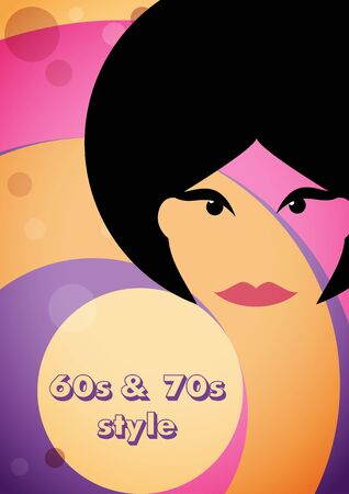 Vintage woman on background with circles. Design template for brochure, flyer or depliant for business purposes. Vector illustration in retro style  Ilustrace