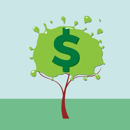 Green deal. Conceptual illustration with tree and dollar sign