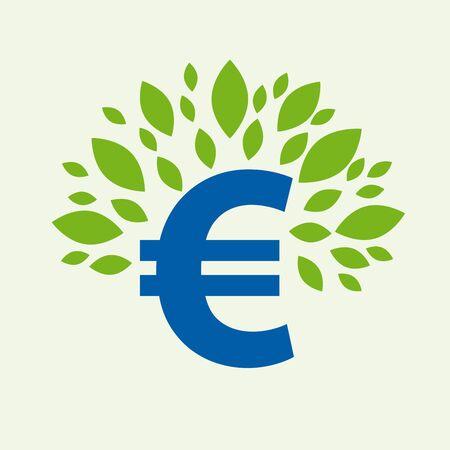 Zielona umowa. Koncepcyjna ilustracja z liśćmi i znakiem euro