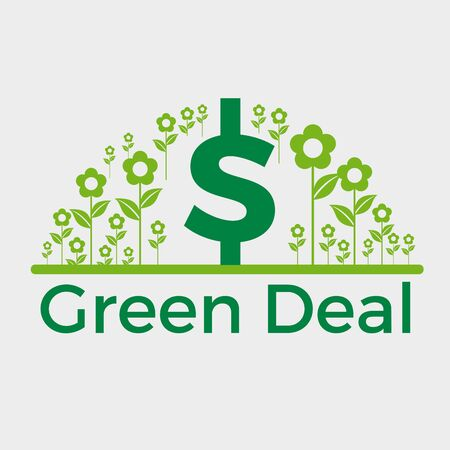 Green deal. Conceptual illustration with flowers and dollar sign