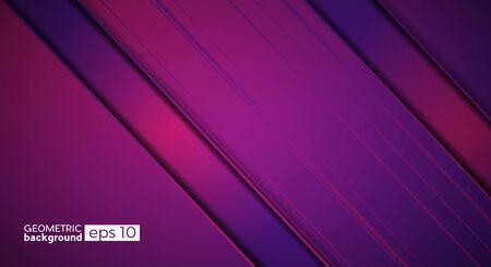 Metallic vector background in purple and pink with obblique bands. Concept of movement and innovation Illustration