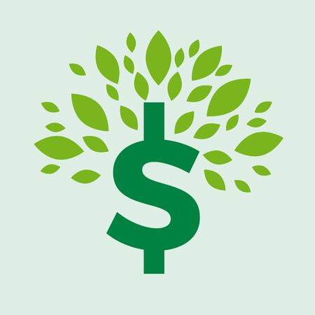 Green deal. Conceptual illustration with leaves and dollar sign