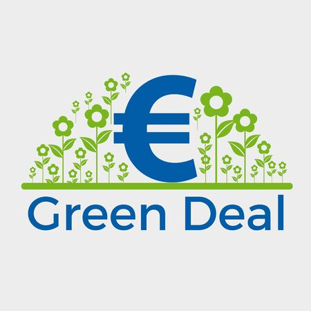 Green deal. Conceptual illustration with flowers and euro sign