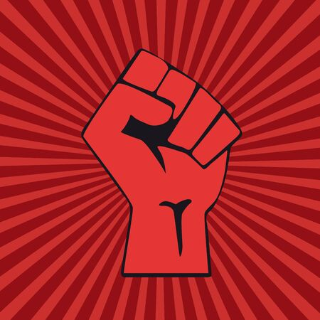 Closed fist on red