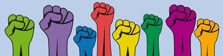 Crowd of protesters people. Vector banner raised hand.Concept of revolution or protest. Closed fist Ilustração