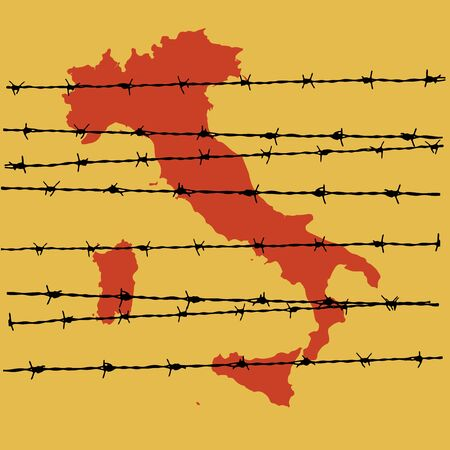 Isolation of Italy due to the Coronavirus epidemic. Barbed wire on the map of Italy. Vector illustration