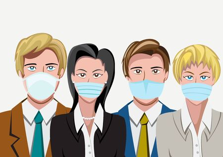 Crowd with mask for Coronavirus epidemic. Workers group. Vector background