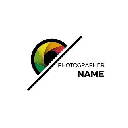 Vector logo photographer, colorful diaphragm of the lens. 向量圖像