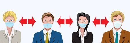 Social distancing, keep distance in public society people to protect from COVID-19 coronavirus outbreak spreading concept, businessman and woman keep distance.