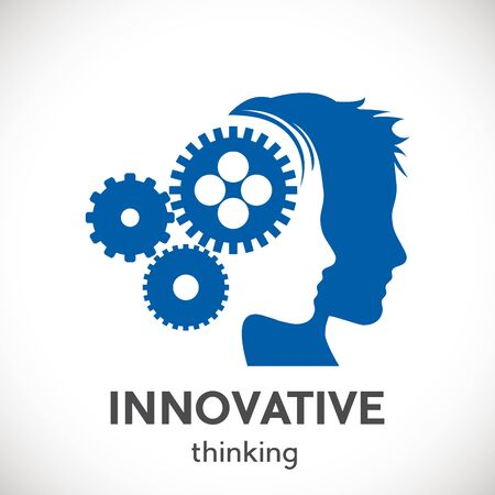 Innovative people. Logo head with gears. Vector concept startup