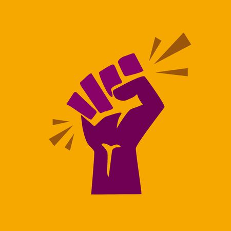 Vector raised hand.Concept of revolution or protest. Closed fist on yellow background