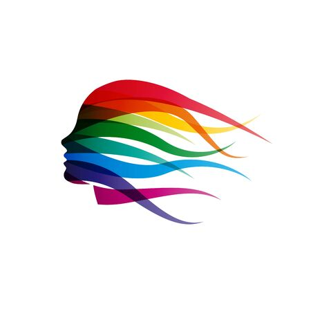 Vector   girl with hair waving in the wind. Abstract woman head in rainbow colors Vectores