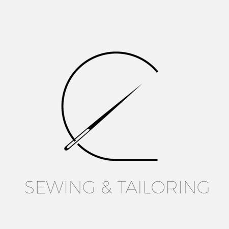 Vector abstract logo, needle and thread for sewing, concept of tailoring and sewing