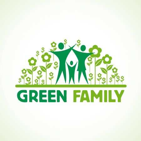 Green family with open arms inside flowers. Stock Illustratie
