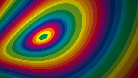 Concentric circles deformed as if they were rainbow-colored targets. Abstract geometric colorful vector banner and background