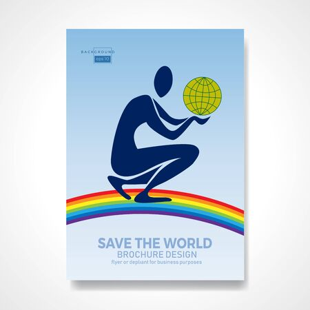 Kneeling man holding the earth over a rainbow in his hands. Retro vector background and illustration. Abstract design template for brochures, flyers, magazine, business card, book covers, poster. Ilustración de vector