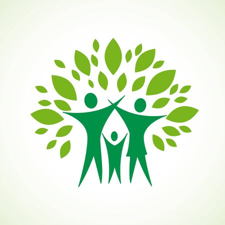 Green family with open arms inside leaves. Logo design template, vector illustration Stock Illustratie