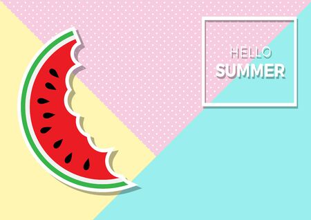 Summer Vector background with watermelon. Design template for Brochure, Flyer or Depliant for business purposes. Greengrocer