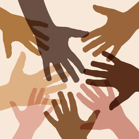 No to racism. Stop to racism and discrimination. Handshake of different races. Vector Illustration
