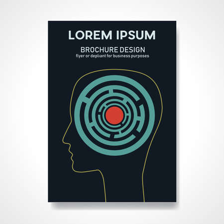 Mental complications, problems and anxieties. Psychology solutions. Labyrinth inside the head. Retro vector background. Abstract design template for brochures, flyers, magazine, book cover, poster Vectores