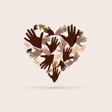No to racism. Stop to racism and discrimination. a heart of different races. Vector Illustration 矢量图像