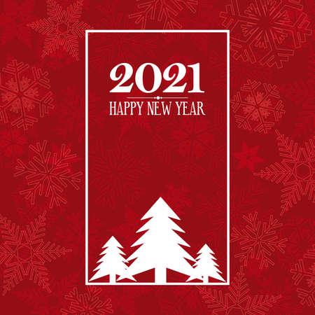 2021 Happy New Year. greeting, invitation or menu cover. vector illustration Vettoriali