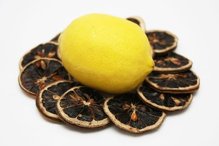 heartiness: Fresh lemon stand in the middle of dried lemon slices
