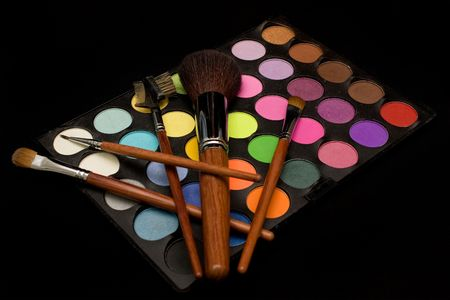 Colorful eyeshadow and blusher with black background Stock Photo - 2806800