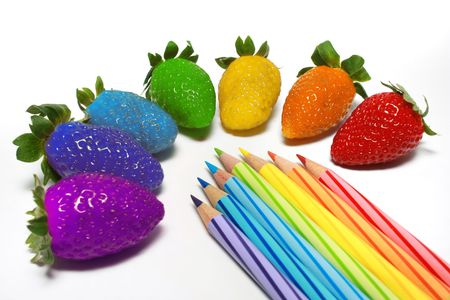 Rainbow color strawberry with a few color pencils