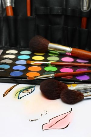 A sketch of makeup face on a paper with makeup accessories. Stock Photo - 2900975