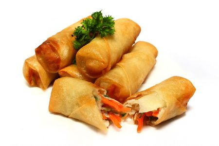 Half dozen of spring rolls isolated on white background. Stock Photo - 2935051