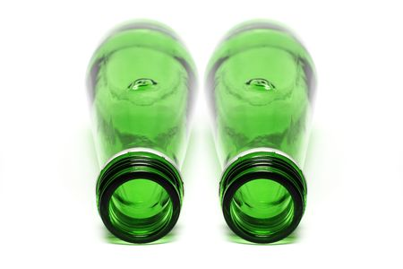 Two green bottle put together on white background. photo