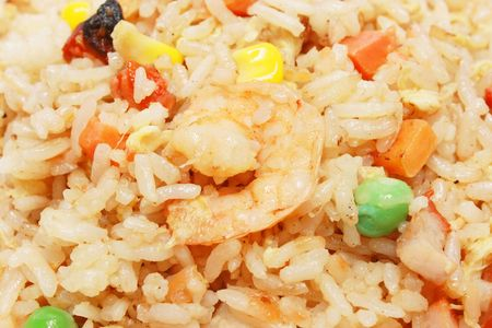 Chinese fried rice close up as background. photo