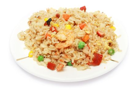 Chinese fried rice on white plate. Stock Photo