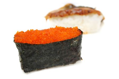 hotate: Close up of a salmon egg sushi over white background.