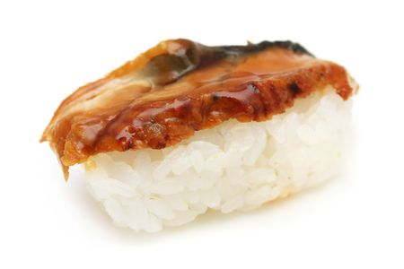 hotate: A barbecued salmon sushi on white background.