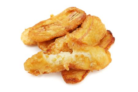 A few pieces of fried banana on white background. Banque d'images