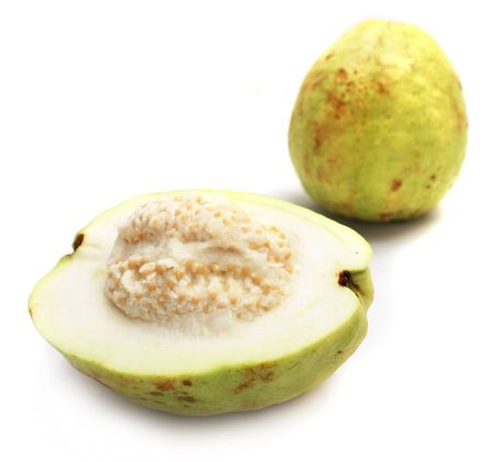 fullness: Close up of half guava with the fullness one. Stock Photo