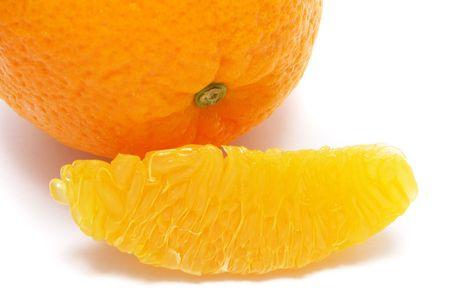 fullness: An fullness orange aligned with peeled pieces.