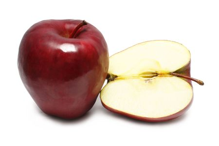 fullness: One and half apple on white background.